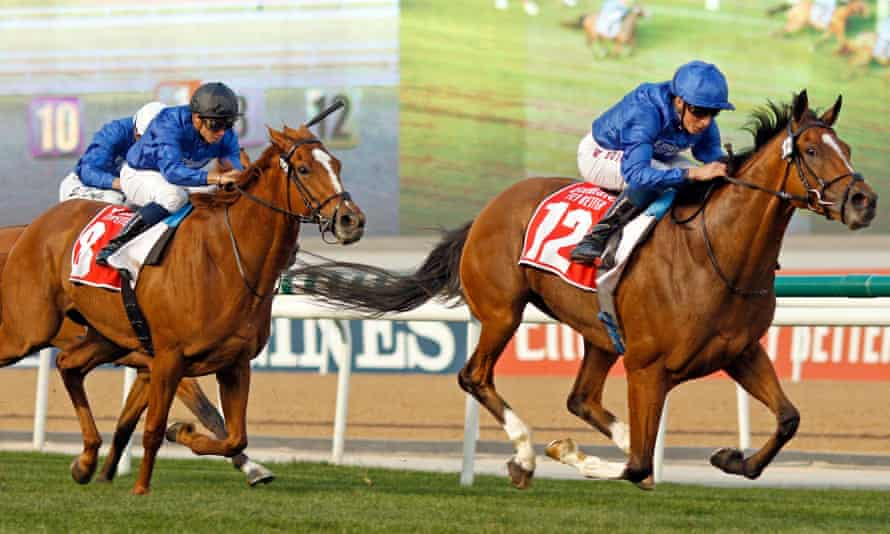 Magic Lily, black cap, in action at Meydan racecourse in Dubai last month.