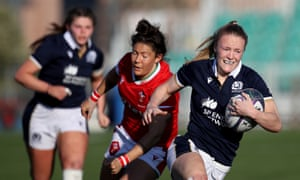 Liz Musgrove breaks through the Welsh lines as Scotland ended their campaign with a win.