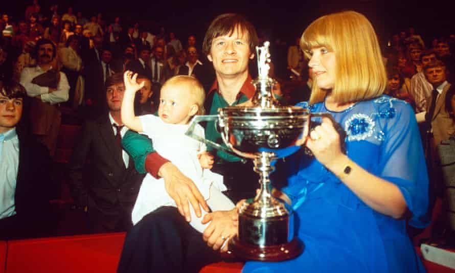 Alex Higgins, his wife Lynn, and their daughter Lauren, celebrate at the end of the 1982 World Snooker final.