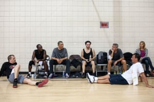 11 May: 'After some early morning basketball in Los Angeles, the president talks with the players, including actors Don Cheadle, Tobey Maguire, and George Clooney, along with two of Clooney's long-time friends'