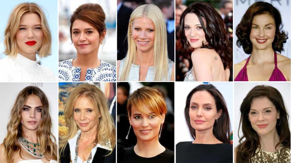 Actresses who have accused Harvey Weinstein of assault. (Top L-R) Léa Seydoux, Emma de Caunes, Gwyneth Paltrow, Asia Argento, Ashley Judd (bottom L-R) Cara Delevingne, Rosanna Arquette, Judith Godrèche, Angelina Jolie and Rose McGowan.