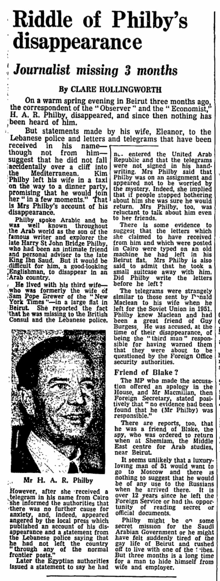 Clare Hollingworth's Guardian story which was published on 27 April 1963.