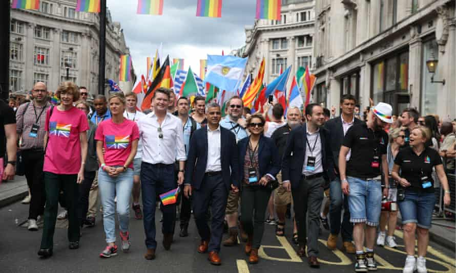 United States Ambassador to the United Kingdom and Sadiq Khan London Pride, UK - 25 Jun 2016.