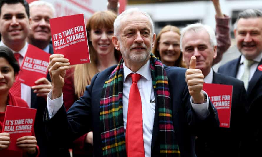 Jeremy Corbyn and members of the shadow cabinet launching Labour's 2019 general election manifesto on Wednesday