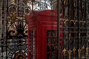 The original wooden prototype of a K2 telephone kiosk positioned at the entrance to the Royal Academy on Piccadilly