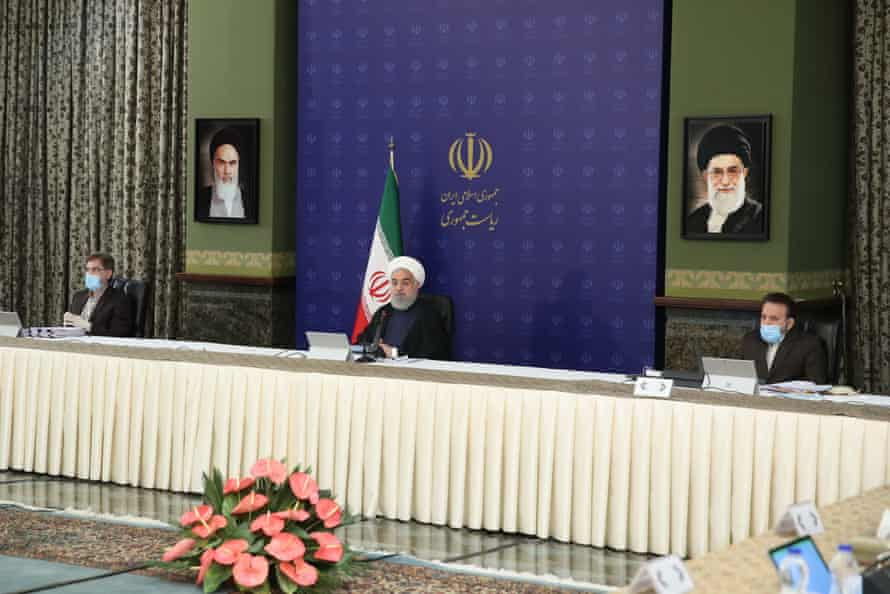 Hassan Rouhani at a meeting in Tehran of a national committee tackling the coronavirus outbreak in Iran.