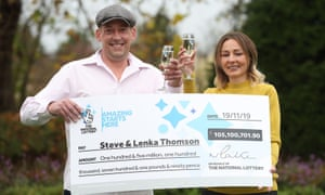 Steve and Lenka Thomson, from Selsey, West Sussex, celebrate their £105m EuroMillions jackpot win.