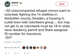 A tweet about volunteer refugees.
