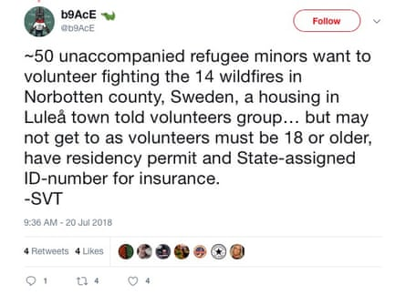 A tweet about volunteer refugees.