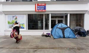 Homeless people's tents in Newport.