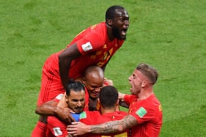 Joy for Romelu Lukaku and his Belgium team-mates.