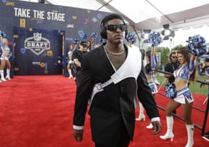 Devin Bush walks the red carpet ahead of the draft