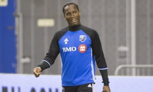 Didier Drogba arrives for training in Montreal.