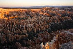 Hoodoos at Bryce Canyon national park, Utah. Hoodoos are spiky rocky formations (also called tent rocks, fairy chimneys or earth pyramids). This park has stunning sunrise and sunsets and many trails for all fitness levels. We chose the Fairyland Loop trail to get away from the tourist groups on the more traditionally popular trails.