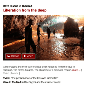 Spiegel Online's coverage of the Thailand cave rescue success. 11/7/18