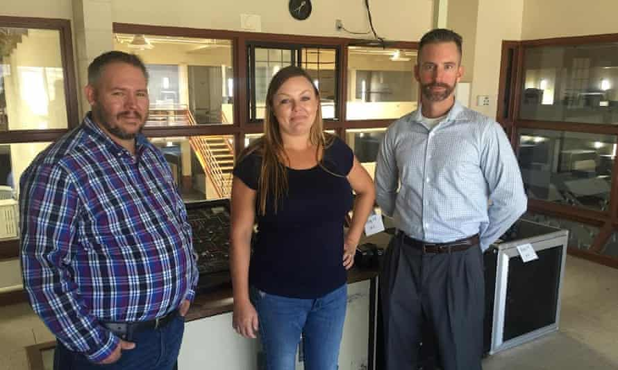 Councilman Nathan Vosburg, city manager Marissa Trejo and Patrick Keough have high hopes for the prison.