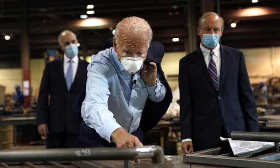 Biden at the metalworks on Thursday.