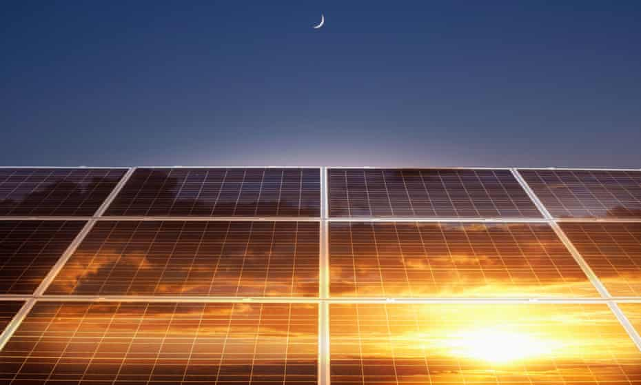 Sun reflection in solar panels.