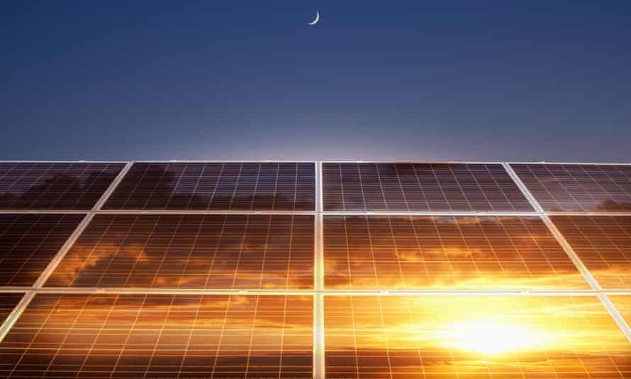 Suns reflection in solar panels. It is understood the falling cost of solar and wind energy suggested clean energy deals would continue to be signed.
