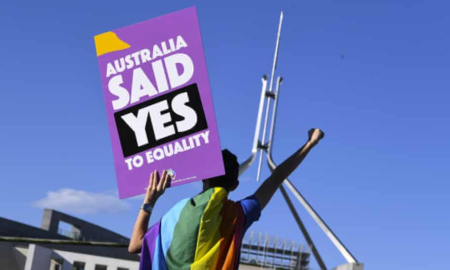 Marriage equality protester outside parliament