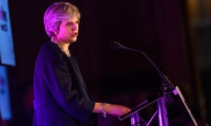 Theresa May delivers a speech at the Pink News awards held at One Great George Street, London.