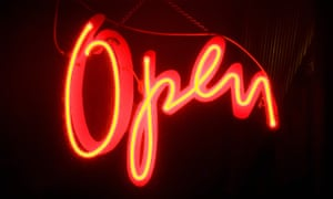 Red neon open sign
