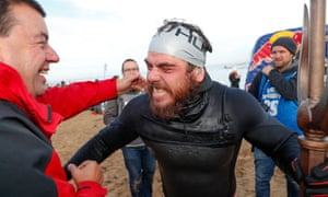Ross Edgley greets friends and fans on Margate beach after his historic swim
