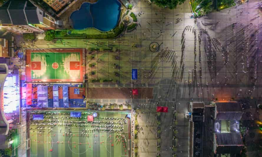 Aerial view of villagers queuing up for nucleic acid testing at Futian District in Shenzhen, Guangdong Province