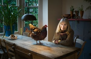 Francine Raymond in her Whitstable kitchen with a speckled Sussex
