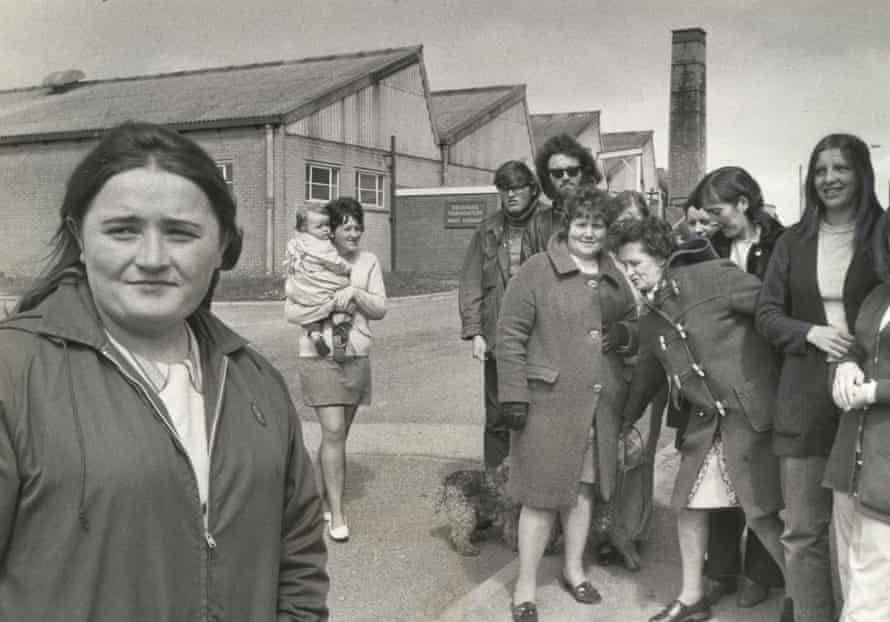 Muriel Hillon, chief shop steward on strike at Brannans' thermometer factory, Cleator Moor, Cumberland 197