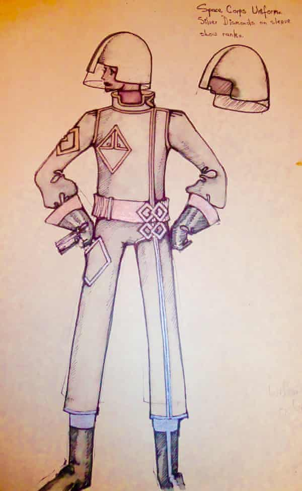 Nicholas Bullen's costume design for a space captain for the Doctor Who story The Space Pirates, 1969
