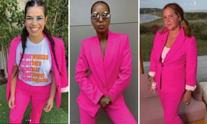 America Ferrera, Kerry Washington, and Amy Schumer in pink suits