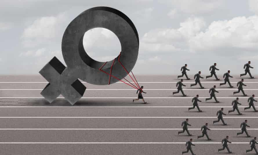 A struggling woman pulls a heavy female symbol on her back as she tries to catch up to men running