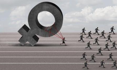 Illustration showing woman running race