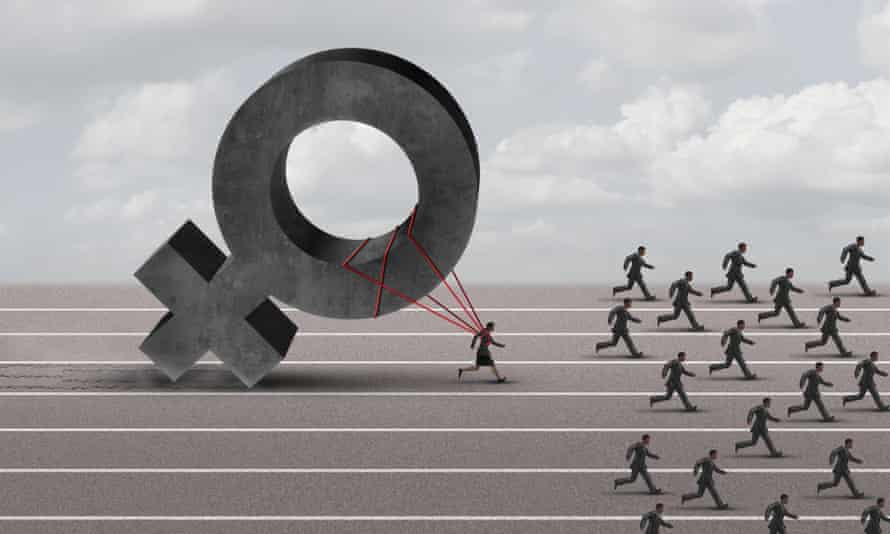 illustration of figures running a race with the woman dragging a huge female gender sign