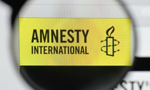 The homepage of the Amnesty International website