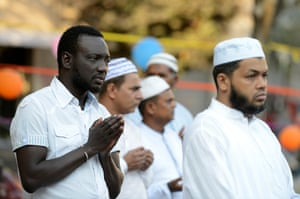 Muslims in Torpignattara, Rome, pray during Eid al-Fitr