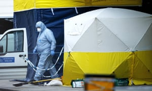A forensic police officer at work in London.