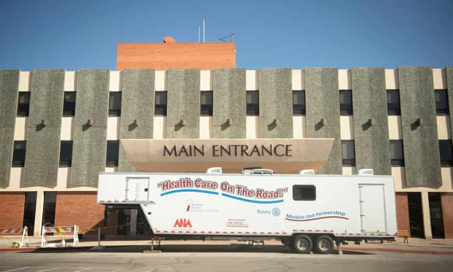 A mobile coronavirus testing unit in frot of the main entrance of Rehoboth McKinley Christian hospital.
