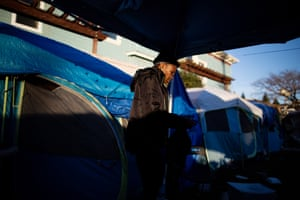 Skinny, 60, lives at the 37MLK homeless encampment after her partner suffered health issues that caused them to get behind on mortgage payments.