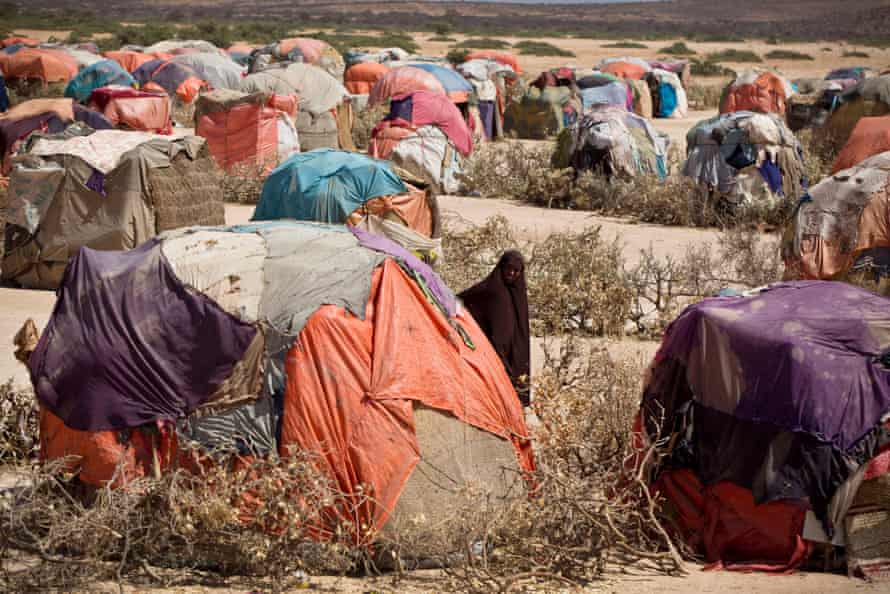 Temporary shelters are seen near the town of Caynabo in Somalia