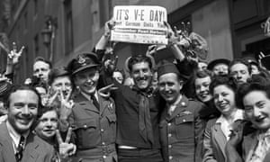 A crowd celebrates VE day marking the German surrender in the second world war, May 1945.