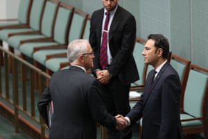 Malcolm Turnbull greets the Afghan ambassador to Australia, Wahidullah Waissi, before a statement from the leaders remembering the victims of the bombing in Afghanistan