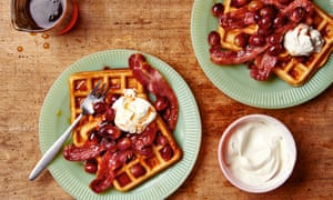 Thomasina Miers' waffles with sweet-roasted grapes