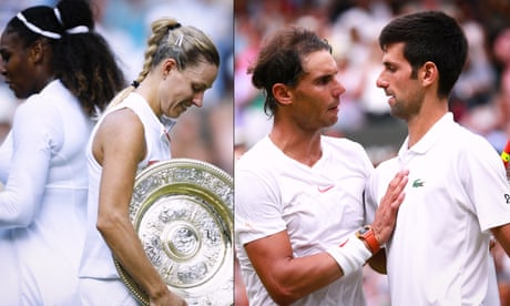 Wimbledon highlights day 12: Kerber and Djokovic overpower Serena Williams and Nadal – video