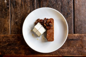 That Somerset Spiced apple cake served with pickled raisins and Ashlynn goat's cheese.