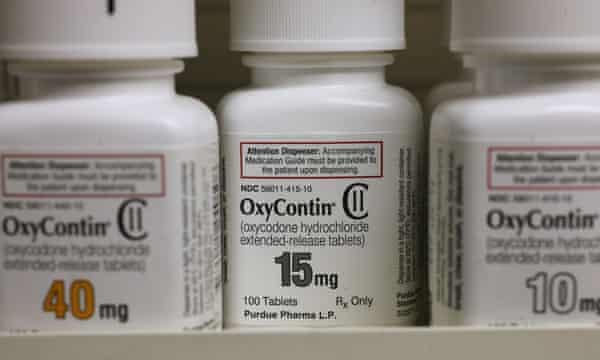 OxyContin medication on a pharmacy shelf.