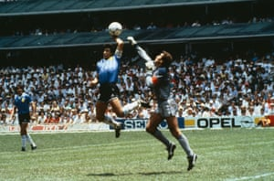 The 1986 World Cup quarter-final between Argentina and England, in Mexico. Maradona scores the first goal with the 'hand of God', past England's goalkeeper, Peter Shilton