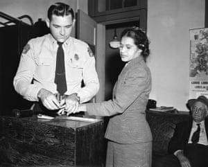 On 22 February 1956, Rosa Parks was fingerprinted in Montgomery after her arrest for violating segregation laws.<br>