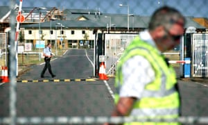 Group 4 security guards outside Yarl's Wood detention centre